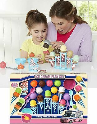 Kids Large Ice Cream Parlour Play Food Shop Set Playset With Cones & Stand • 12.99£