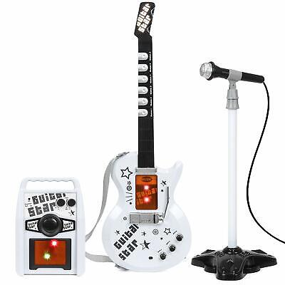 Kids Electric Rock Star Guitar & Microphone Karaoke Set Amplifier Musical Toy • 25.99£