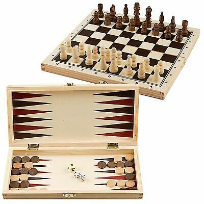 3 In 1 Wooden Board Game Set Compendium Travel Games Chess Draughts Backgammon • 9.99£