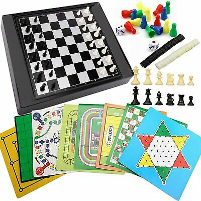 Set Of 21 Magnetic Travel Board Games Compendium Play Set Chess Ludo Checkers • 7.99£