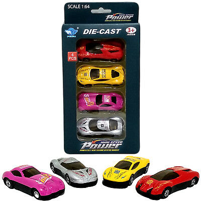 4 Pcs Kids Mini Die Cast Cars Toys Set Of 4 Play Solid Racing Cars Models Gift • 5.99£