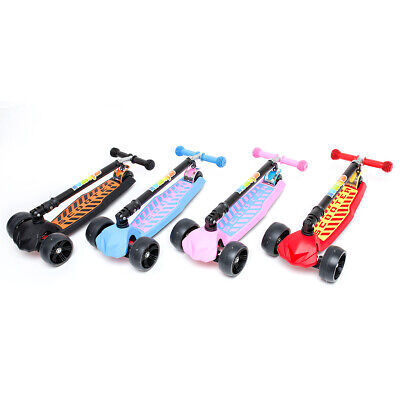 Kids Scooter Child Kick Flashing LED Light Up 3 Wheel Push Adjustable Folding UK • 27.99£