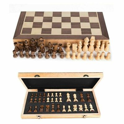 Large Chess Wooden Set Folding Chessboard Magnetic Pieces Wood Board UK New • 24.99£