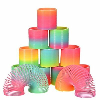 12 X LARGE Rainbow Magic Springs Slinky Spring Coil Toy Kids Party Bag Fillers • 9.49£