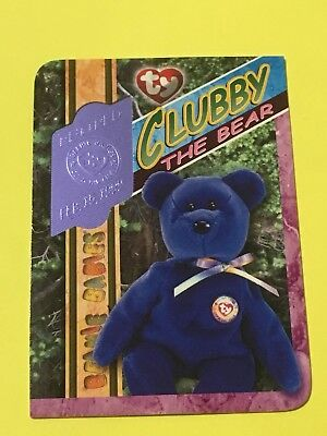 Ty Beanie Babies Trading Card Clubby The Bear Blue Retired 313, Series 4 • 24.99£