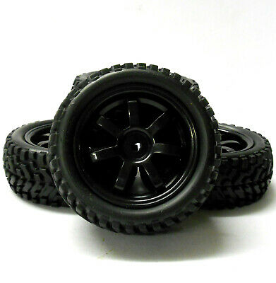 9078 1/10 Scale RC Car Off Road 7 Spoke Wheel And Rally Tread Tyre Black X 4 • 14.99£
