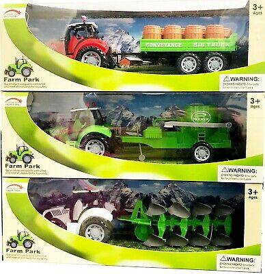 Farm Farmer Tractor Truck Trailer Play Set Attachment Tractor Kids Toy Xmas Gift • 9.89£