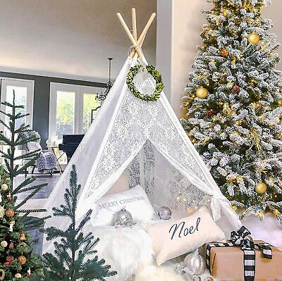 Lace Teepee Tent For Kids Dream Castle Wedding Party Decor Birthday Gift Indoor • 57.99£