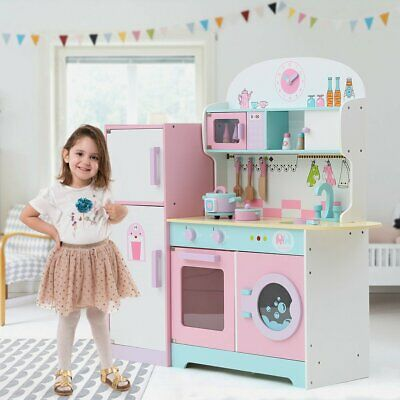 Kids Toy Kitchen Large Children Wooden Cooker Girls Boys Play Set ~ 4 Selects • 60.99£