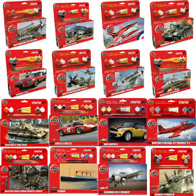 Airfix Model Kit Starter Sets - Cars Planes Tanks Ships INC. Paint Glue Brush • 15.49£