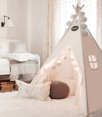 (Open-box) Giant Princess Teepee Tent Cotton Canvas Kids Childrens Indoor • 36.99£