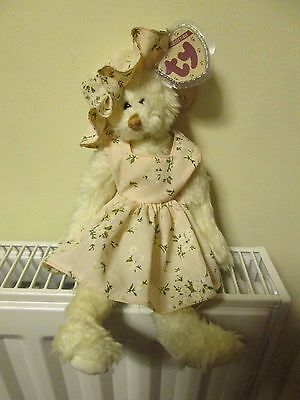 TY ATTIC TREASURE BEAR 'NOLA', Wearing Pink Dress & Hat, 5th Gen Hang Tag, CUTE! • 24.99£