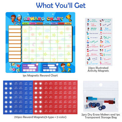 MAGNETIC REWARD CHART BEHAVIOUR With 2 FREE PEN AND STAR STICKERS + BAG FOR KIDS • 9.89£