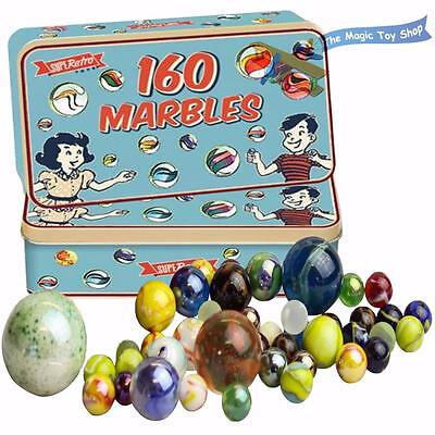 160 Traditional Assorted Colorful Classic Retro Glass Marbles In A Tin Kids Game • 5.89£
