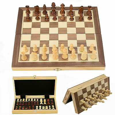 Large Chess Wooden Set Folding Chessboard Magnetic Pieces Wood Board UK • 19.99£