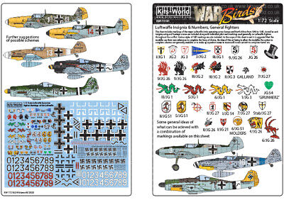 Kits-World Decals 1/72 Luftwaffe Squadron Fighter Markings Of The Luftwaffe # 72 • 8.90£
