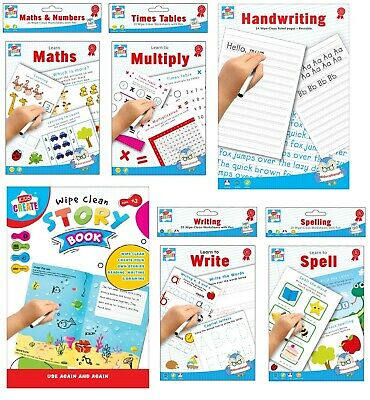 Kids Wipe Clean Educational Fun Learning Books Writing Spelling Maths Numbers • 2.59£