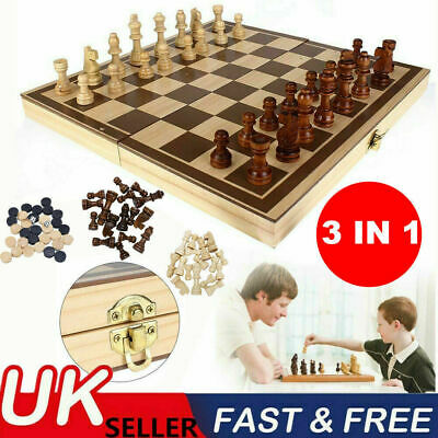 3in1 Large FOLDING WOODEN CHESS SET Board Game Checkers Backgammon Draughts Toy • 9.99£