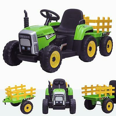 RiiRoo 12V Kids Tractor With Trailer Battery Powered Led Lights MP3 Seatbelt • 139£