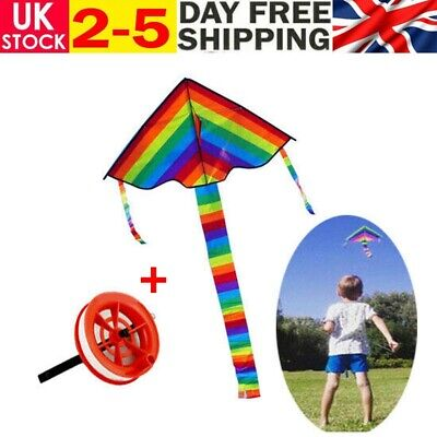 Colorful Rainbow Long Tail Outdoor Flying Toys Kids Adults Beginner Kite W/line • 6.49£