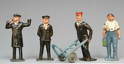 CRESCENT METAL RAILWAY STATION STAFF FIGURES & TROLLEY X 5 PIECES...!! • 4.99£