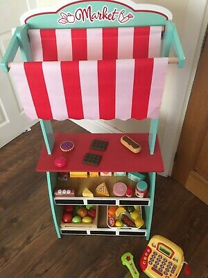 Wooden Market Stall With Food, Basket, Trolley And Till • 15£