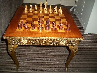 Vintage Ornate Chess Table And Box Of Chess Pieces In Good Used Condition • 40£