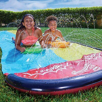 Wham-O Inflatable Raceway Double Slip And Slide Wave Rider With Boogies 4.8m • 25.99£