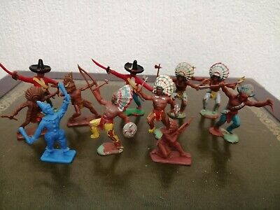 Collection Of Vintage Crescent Plastic Indians, Mexicans & A Clown Haha • 5£