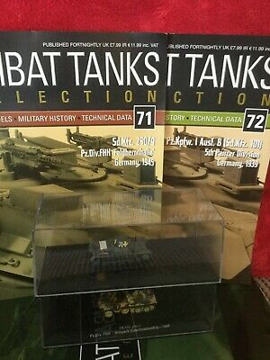 2 Deagostini Tanks Combat Collection Models 71 & 72 With Display Case & Mags • 6.98£