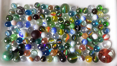 144 Mixed Vintage Glass Marbles, 1980s, Various Colours, Types & Sizes • 9.99£