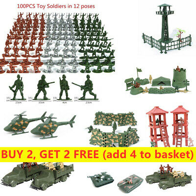 Aircraft Turret Tanks Military Toy Army Men Figures Plastic Soldiers 12 Poses • 4.27£
