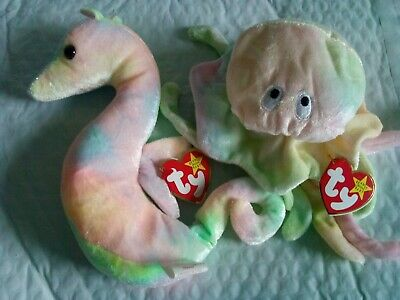 TY Beanie Babies  Goochy The Jellyfish  &  Neon The Seahorse  With Tags • 4.99£