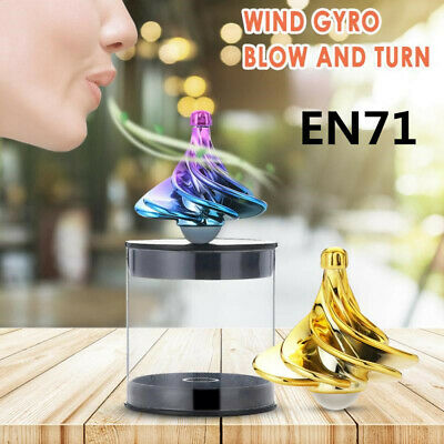 UK Spinning Top Wind Gyro Wind Blow Turn Airflow Gyro Desktop Decompression Toys • 5.59£