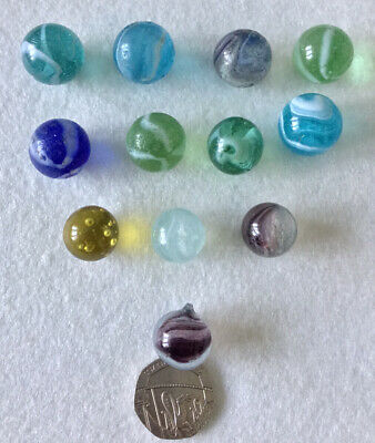 Vintage Glass Marbles - Mixed Lot Of 12 (ref: I) • 2£