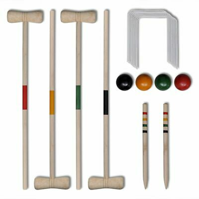 4 Player Wooden Croquet Set Outdoor Lawn Garden Family Game Childrens Kids • 29.99£