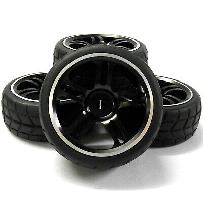 1/10 Scale RC Car Nitro On Road Alloy Wheel And V Tread Tyre Tire Black X 4 • 19.94£