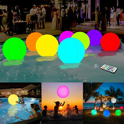 Remote Control Swimming Pool 13 Colors Glowing Inflatable LED Glowing Beach Ball • 6.47£