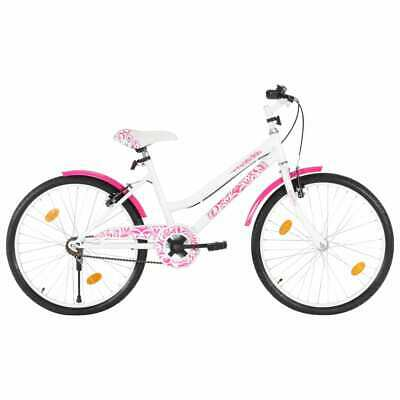 VidaXL Kids Bike 24 Inch Pink And White Children Boys Girls Cycling Bicycle • 130.99£