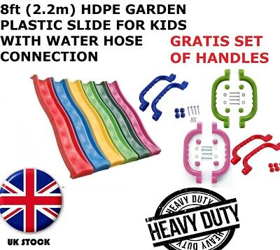 8ft (2.2m) HDPE Garden Plastic Slide For Kids With Water Hose Connection For 1.2 • 87.99£