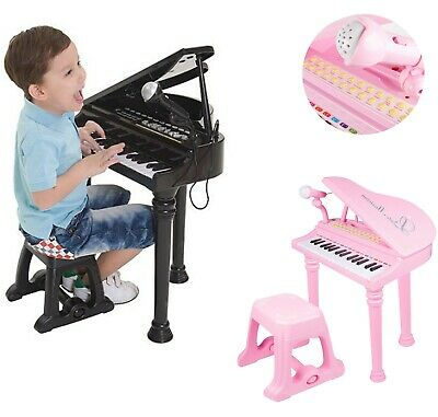 Childs Electronic Keyboard Grand Piano Musical Instrument Toy Microphone & Stool • 27.99£