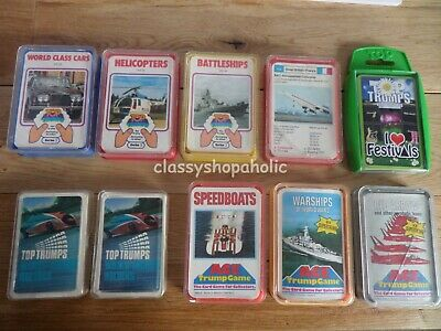 Vintage Top Trumps & Ace Trumps Warships Speedboats Cars  Helicopters & More  • 15£