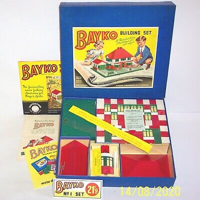 ORIGINAL VINTAGE 1958 BAYKO BUILDING SET No1 EXCELLENT CONDITION IN ORIGINAL BOX • 119.95£
