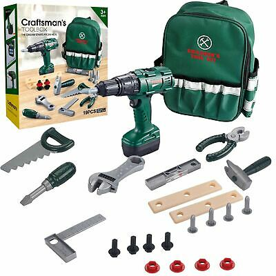 Kids Tool Set With Carry Bag Electronic Drill Pretend Construction Play Kit Box  • 14.99£