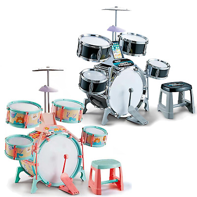 Kids Jazz Drum Kit Toy With Music Note Cards And Stool, Drums Play Set • 24.99£
