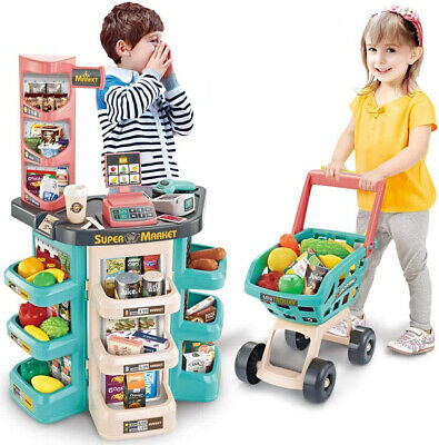 Kids Supermarket Shop Play Set Shopping Trolley, Cash Register, Play Food Toy • 26.99£