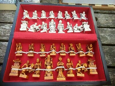 Vintage Boxed Chess Set & Board, Oriental Type Chess Pieces. • 29.99£