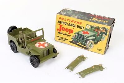 Vintage ~  Poplar Plastic Product   Ambulance Unit   Jeep  With Figures & Box • 12.27£