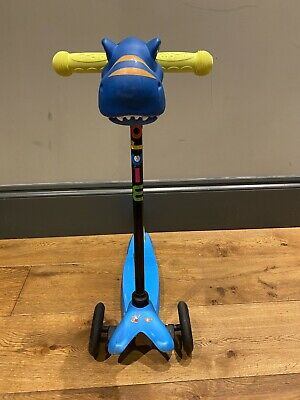 Blue Mini Micro Scooter Age 2-5 With New Handle Grips & Dinosaur Scootaheadz • 12£