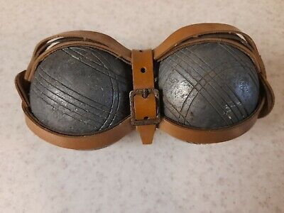 Pair 2 Vintage Metal Boules Petanque Balls In Leather Cage • 8.99£